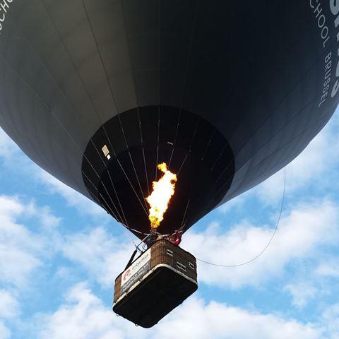 Luchtballon boven maisveld